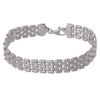 Karizia Italian Sterling Silver Panther Link Bracelet