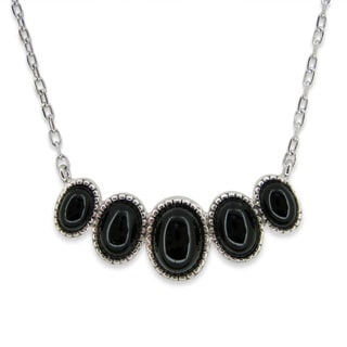 Kabella Sterling Silver Black Agate Oval Necklace