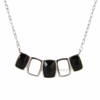 Kabella Sterling Silver Black Agate Rectangular Necklace