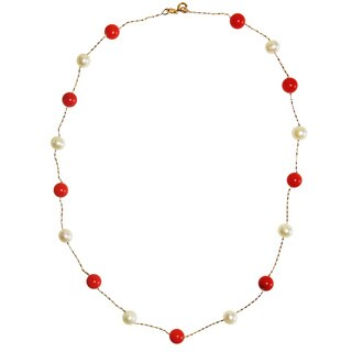 Red Coral and FW Pearl Strand Necklace (6 mm)