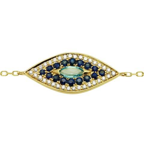 14k Yellow Gold 7/8 ct. Diamonds / Blue Sapphire / Blue Topaz Evil Eye Bracelet by Beverly Hills Charm