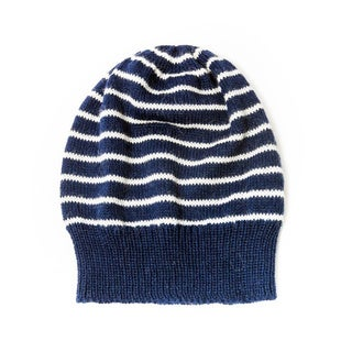 Anita Navy and White Striped Alpaca Hat (Bolivia)