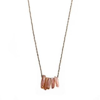 Antique Goldtone Tea Rose Quartz Necklace (China)