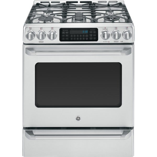 GE Cafe Series 30-inch Free-Standing Dual-Fuel Range with Baking Drawer - Silver