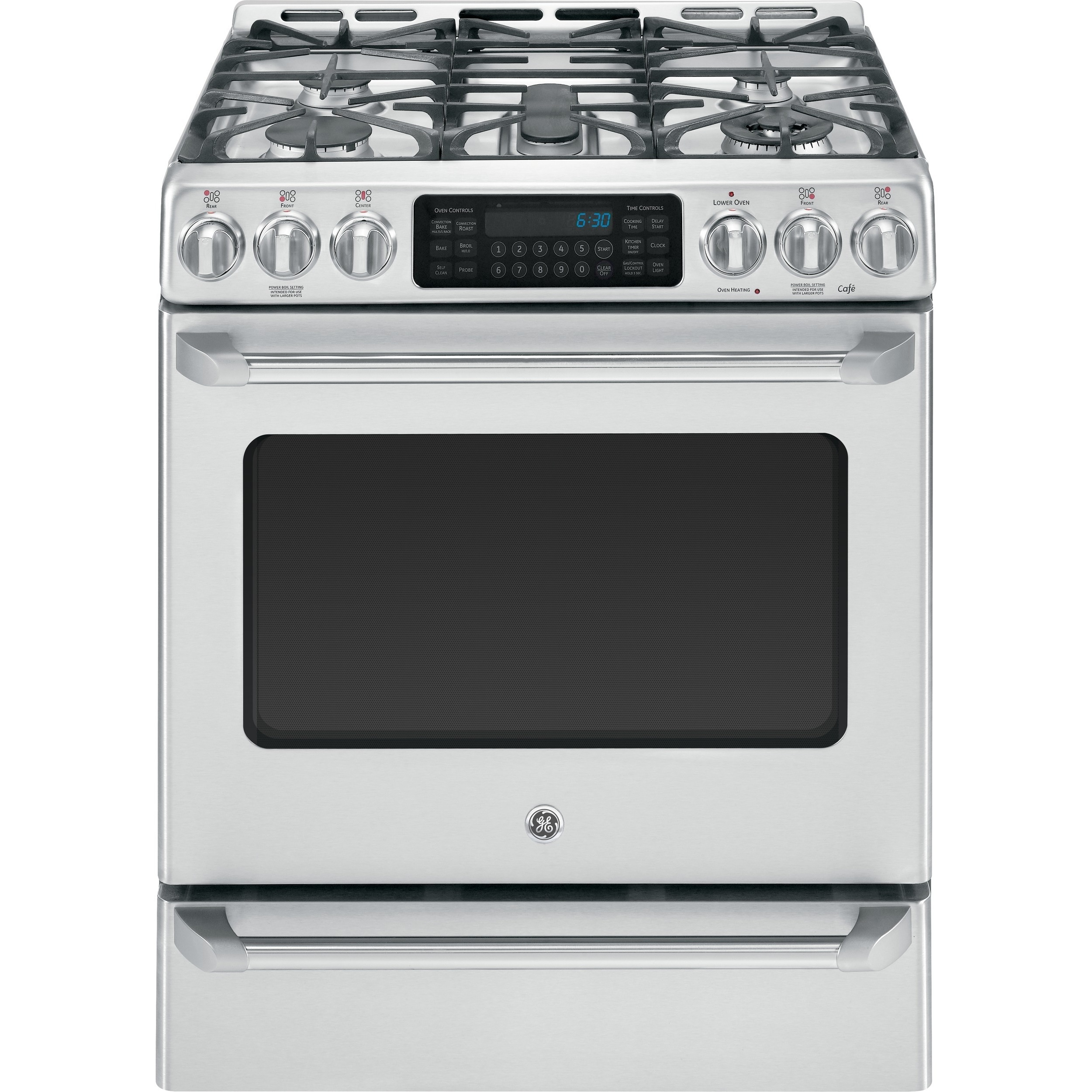 GE Cafe Series 30-inch Free-Standing Dual-Fuel Range with...