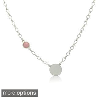 Sterling Silver Gemstone Birthstone Side Necklace