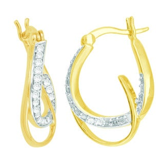 Divina Yellow Rhodium over Silver Diamond Accent Fashion Hoop Earrings