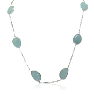 Sterling Silver Sliced Blue Chalcedony Station Necklace
