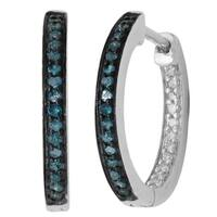 Divina Sterling Silver Blue and White Diamond Accent Hoop Earrings - N/A