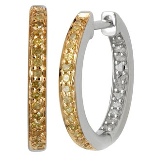 Divina Sterling Silver White and Yellow Diamond Accent Two-tone Hoop Earrings