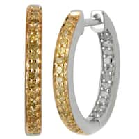 Divina Sterling Silver White and Yellow Diamond Accent Two-tone Hoop Earrings - N/A
