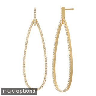 14k Gold 1 1/10ct Diamond Tear Drop Dangle Earrings