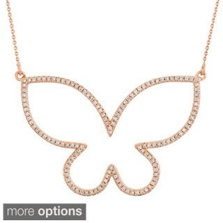 14k Gold 5/8ct TDW Diamond Open Butterfly Necklace