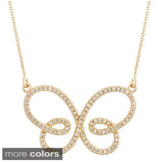 14k Gold 1/2ct TDW Diamond Infinity Butterfly Pendant