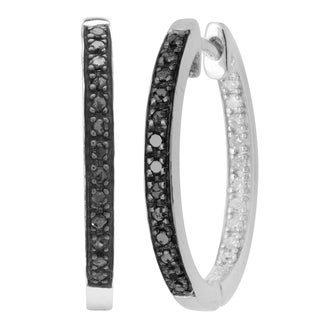 Divina Sterling Silver Black and White Diamond Accent Hoop Earrings