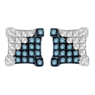 Divina Sterling Silver Blue and White Diamond Accent Stud Earrings