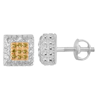 Divina Sterling Silver White and Yellow Diamond Accent Square Stud Earrings
