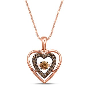 Unending Love 10k Rose Gold 1/10ct. TDW Brown/ Champagne Diamond Movable Glittering Stars Pendant