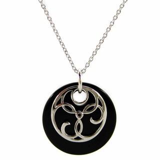 Kabella Sterling Silver Celtic Design Black Agate Pendant