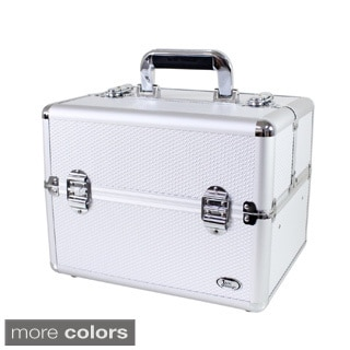 Jacki Design Light Grey Aluminum 9-inch Carry-on Makeup Case