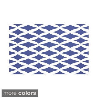 E by Design Royal Blue/ Coral Geometric Print Throw Blanket