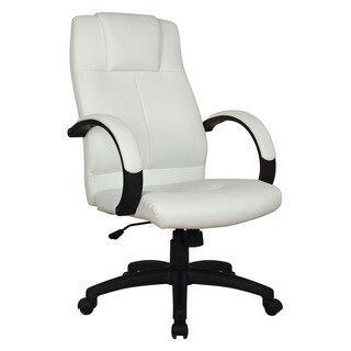 Basil White Leatherette Pneumatic Lift Office Chair