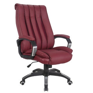 Hamel Red Leatherette Pneumatic Lift Office Chair