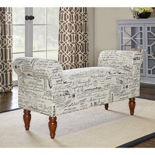 Linon Justine Classic Bench in Black & White Printed Fabric