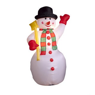 6-foot Illuminated Inflatable Snowman with Shovel