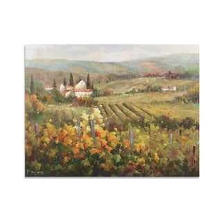 Richard 'Tuscany Vineyard Landscape with Village and Mountain View' Gallery Wrapped Canvas