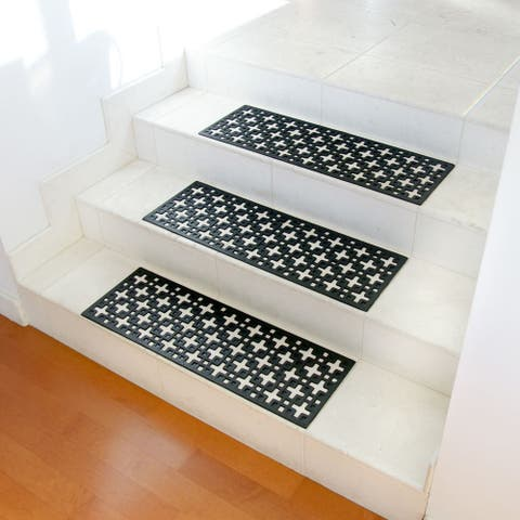 """Rubber-Cal """"Stars"""" Recycled Rubber Step Mat - Black Stair Tread - 6 pcs"""