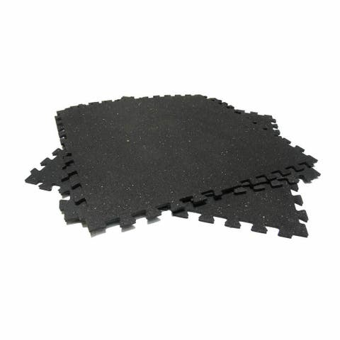 Rubber-Cal 'Z-Cycle Tiles' Interlocking Rubber Mats - Black with White Speckles - 4 Pack (Covers 22.5 Square Feet)