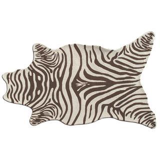 Zebra Brown Shaped Area Rug (5' x 8')