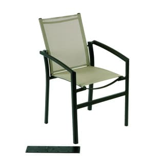Stacking Dining Armchair Bronze Grey Sling Chair (23 inches long x 22 inches wide x 35 inches high)