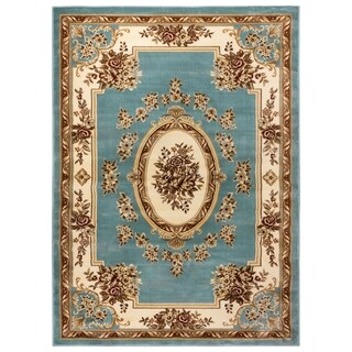 Well-woven Vanguard French Aubusson European Floral Medallion Formal Classic Thick Plush Luxury Area Rug (5'3 x 7'3)