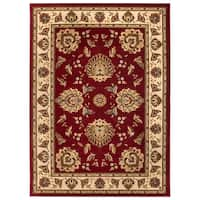 Well Woven Vanguard Oriental Border Red Polypropylene Rug - 9'2 x 12'6