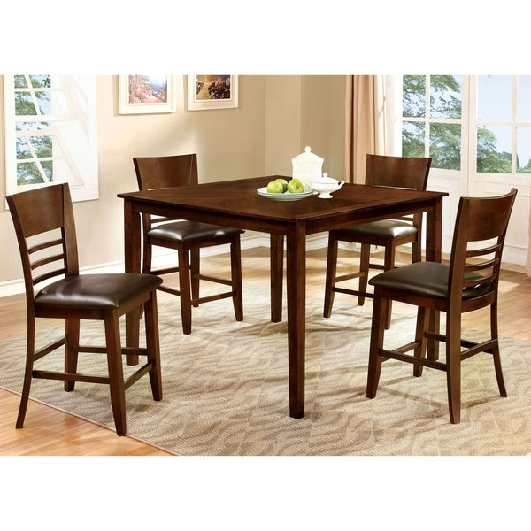 Furniture of America Silt Cherry 5-piece Counter Dining Set
