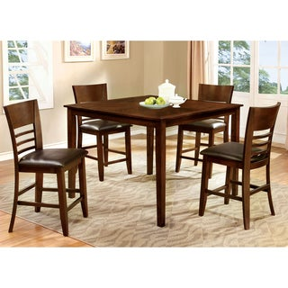 Furniture of America Bahena 5-piece Dark Cherry Counter Height Dining Set