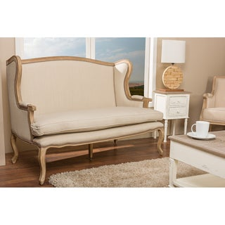 Baxton Studio Beuvron Wood and Cotton Traditional French Loveseat