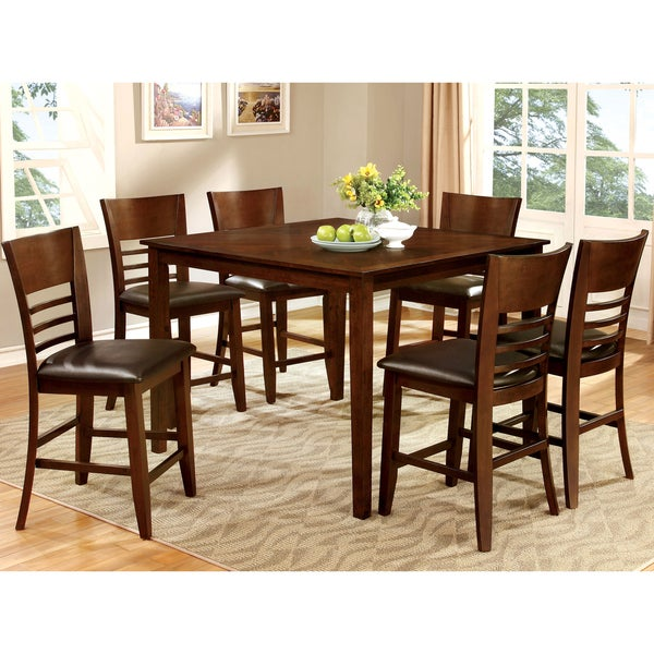 Furniture of America Silt Casual Cherry 7-piece Counter Dining Set