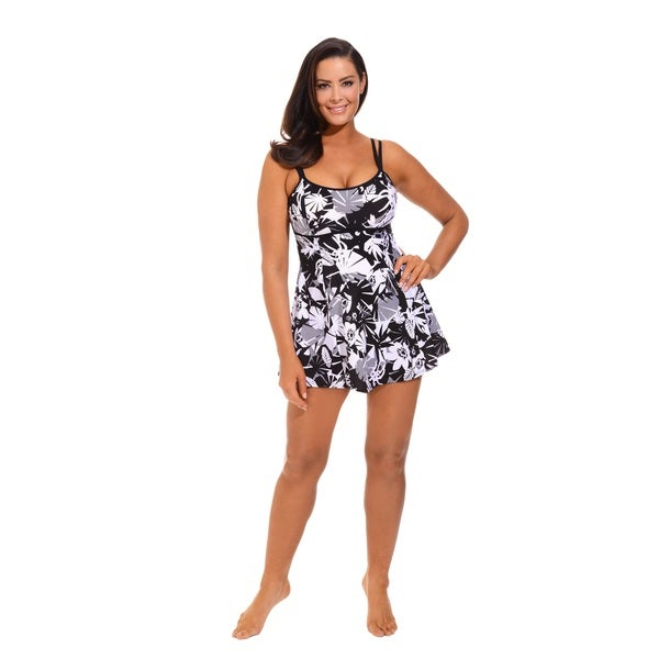 561b9b21d76d Shop Beach Belle Techno Floral Plus Size Lingerie Swimdress - Free Shipping  On Orders Over $45 - Overstock - 9966194