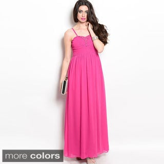 Shop The Trends Women's Empire-waist Spaghetti Strap Long Dress