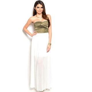Shop The Trends Women's Banded Glitter-top Strapless Combination Dress
