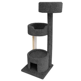 New Cat Condos Beige/Brown Carpeted Wood Large Cat Perch & House with Sisal Rope Scratching Post (Grey)