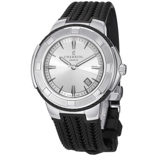 Charriol Men's CE443B.173.103 'Celtic' Silver Dial Black Rubber Strap Swiss Quartz Watch