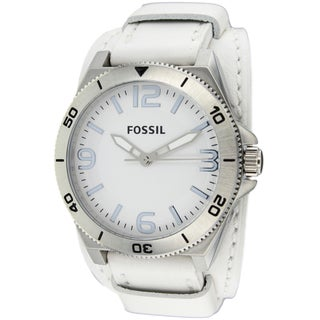 Fossil Men's BQ1168 Classic Round White Leather Strap Watch