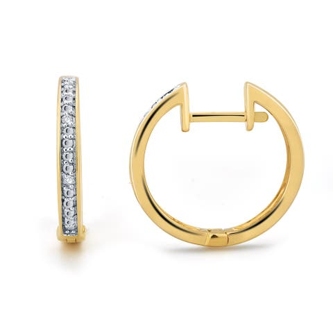 Divina Goldtone and Silvertone 1/10ct TDW Diamond 3-piece Hoop Earring Set