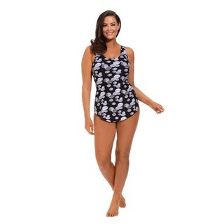 Black and White Plus Size Sarong Front Swimsuit