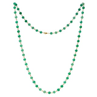 Alchemy Jewelry 22k Gold Overlay Green Aventurine Bead Necklace