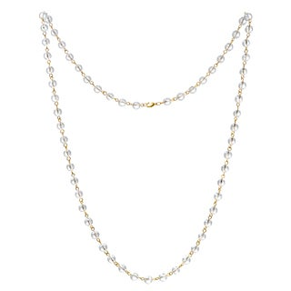 Alchemy Jewelry 22k Gold Overlay Clear Quartz Bead Necklace